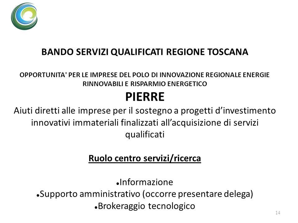 BANDO SERVIZI QUALIFICATI REGIONE TOSCANA Ruolo centro servizi/ricerca