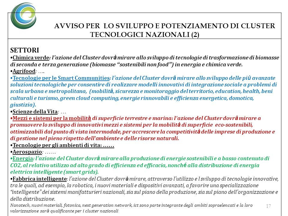 AVVISO PER LO SVILUPPO E POTENZIAMENTO DI CLUSTER TECNOLOGICI NAZIONALI (2)