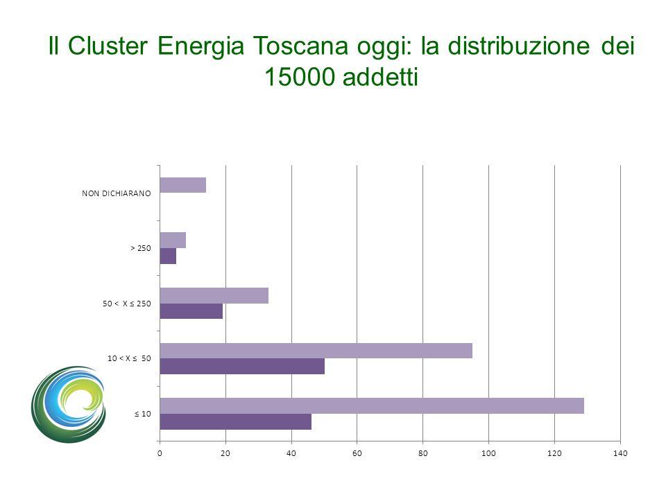 Il Cluster Energia Toscana oggi: la distribuzione dei 15000 addetti
