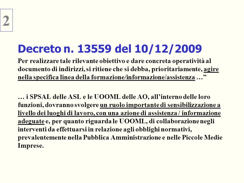 2 Decreto n. 13559 del 10/12/2009.