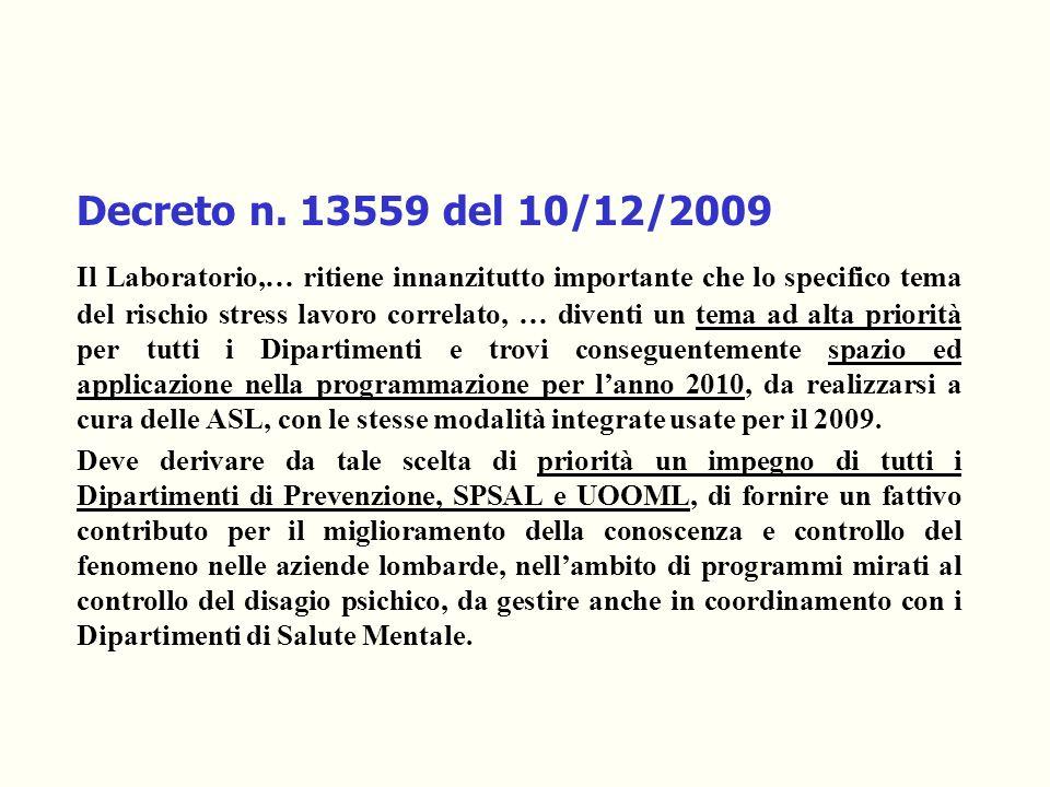 Decreto n. 13559 del 10/12/2009