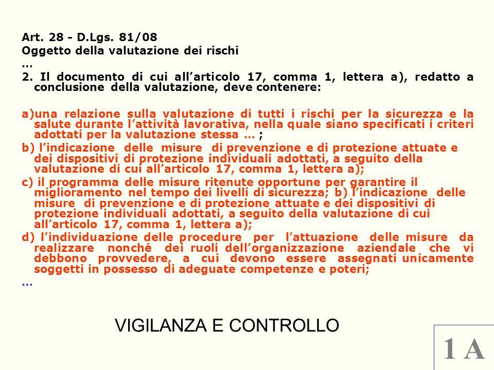1 A VIGILANZA E CONTROLLO Art. 28 - D.Lgs. 81/08