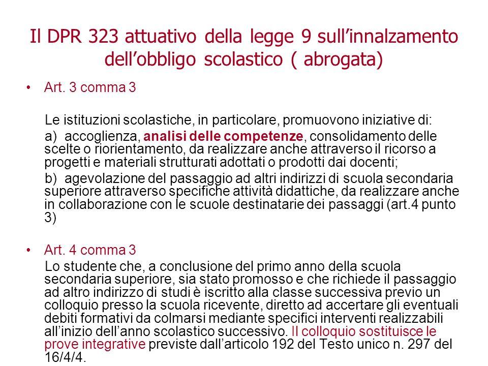 Il DPR 323 attuativo della legge 9 sull'innalzamento dell'obbligo scolastico ( abrogata)