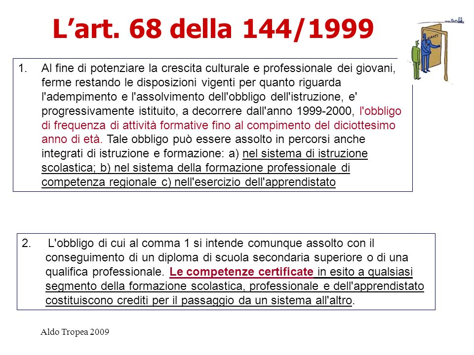 L'art. 68 della 144/1999