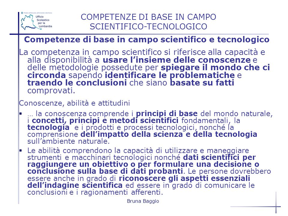 COMPETENZE DI BASE IN CAMPO SCIENTIFICO-TECNOLOGICO