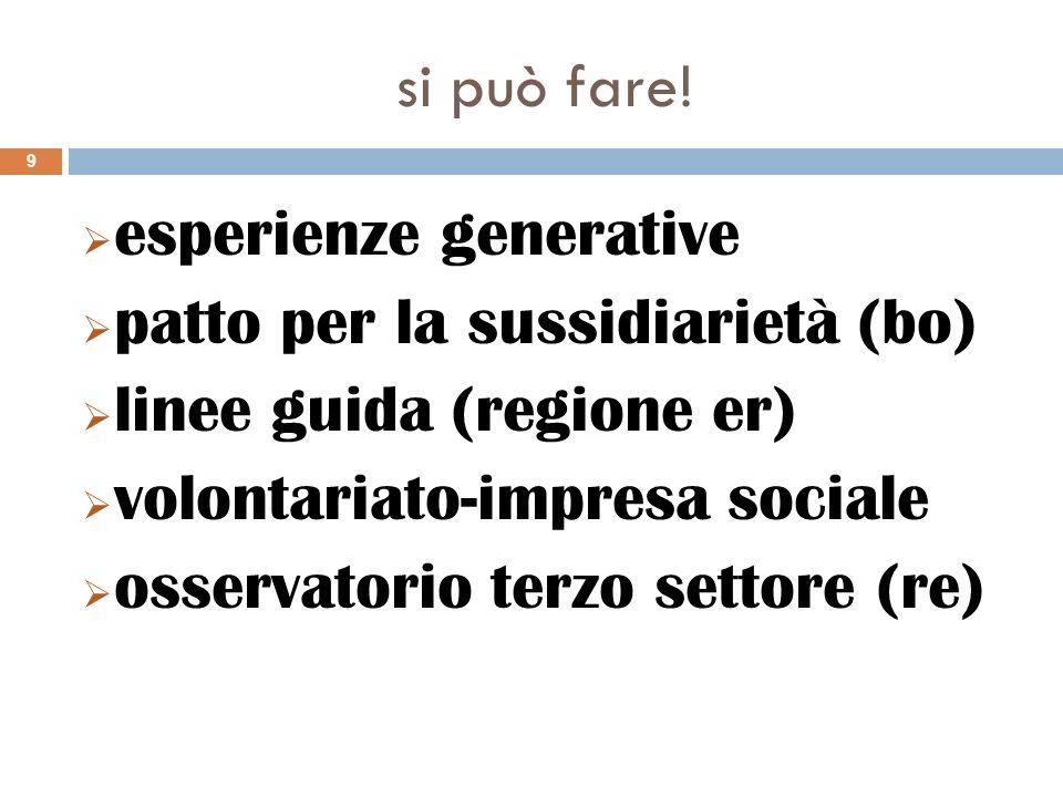 si può fare! esperienze generative. patto per la sussidiarietà (bo) linee guida (regione er) volontariato-impresa sociale.