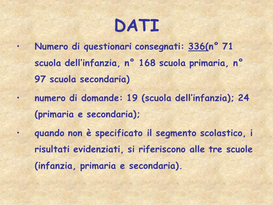 DATINumero di questionari consegnati: 336(n° 71 scuola dell'infanzia, n° 168 scuola primaria, n° 97 scuola secondaria)