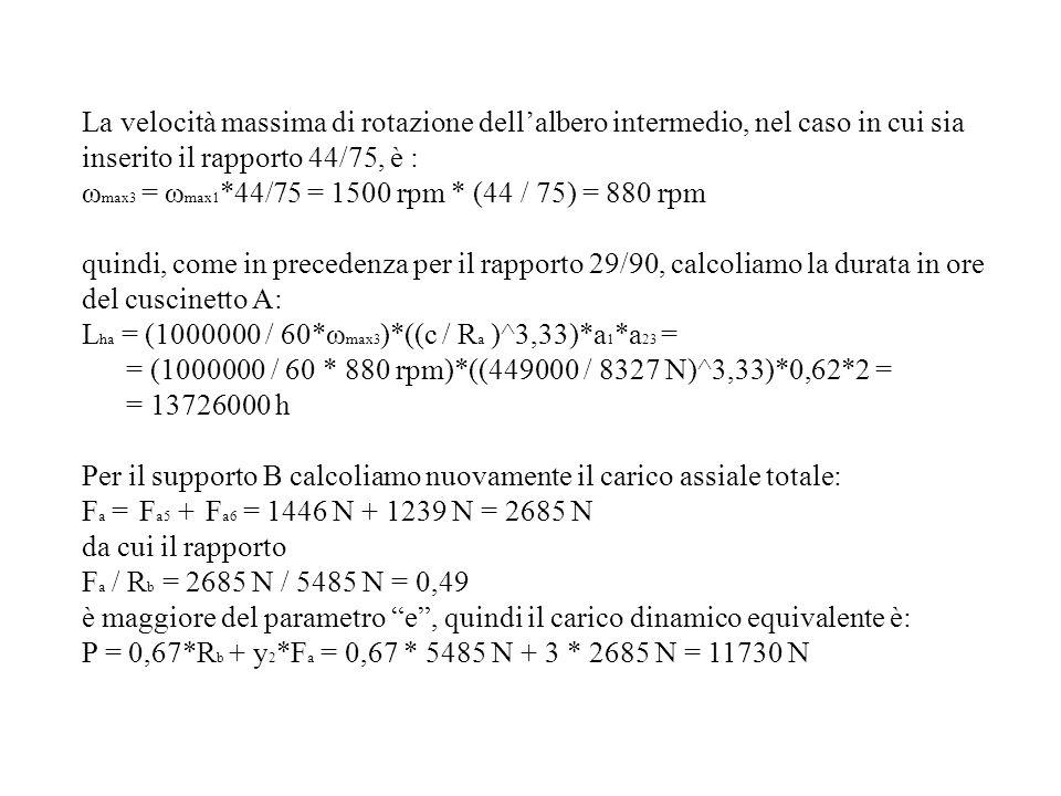 La velocità massima di rotazione dell'albero intermedio, nel caso in cui sia