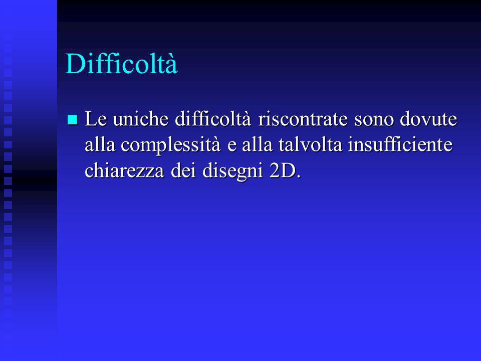 Difficoltà Le uniche difficoltà riscontrate sono dovute alla complessità e alla talvolta insufficiente chiarezza dei disegni 2D.