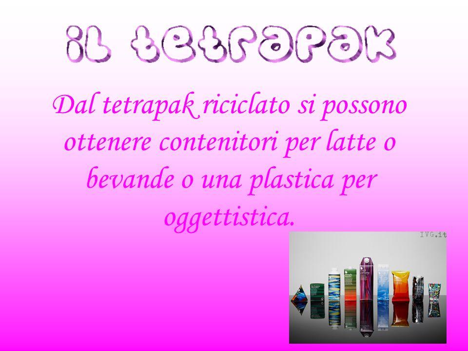Dal tetrapak riciclato si possono ottenere contenitori per latte o bevande o una plastica per oggettistica.