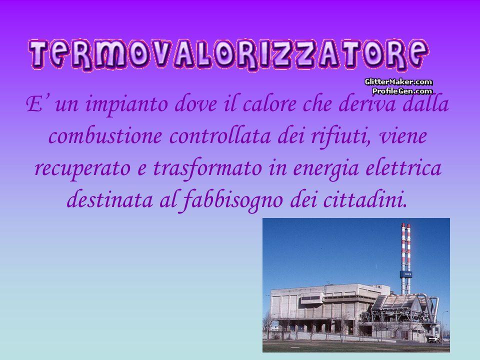 E' un impianto dove il calore che deriva dalla combustione controllata dei rifiuti, viene recuperato e trasformato in energia elettrica destinata al fabbisogno dei cittadini.