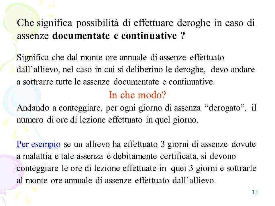 Che significa possibilità di effettuare deroghe in caso di assenze documentate e continuative