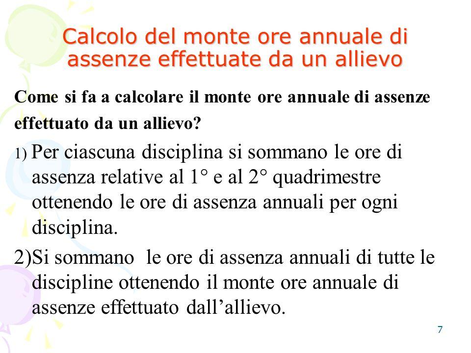 Calcolo del monte ore annuale di assenze effettuate da un allievo