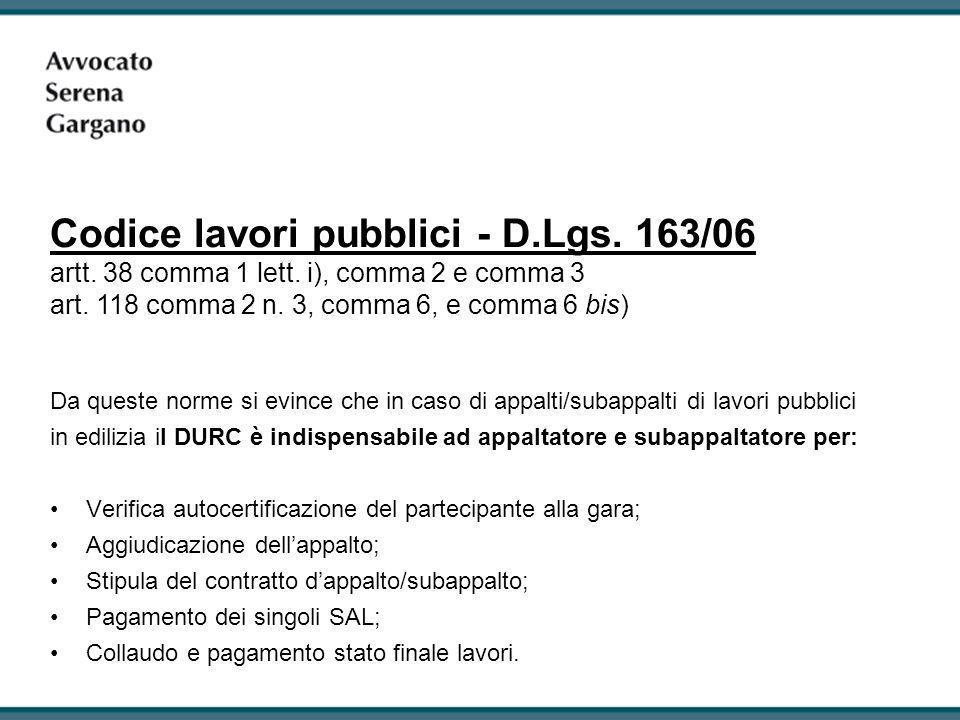 Codice lavori pubblici - D. Lgs. 163/06 artt. 38 comma 1 lett