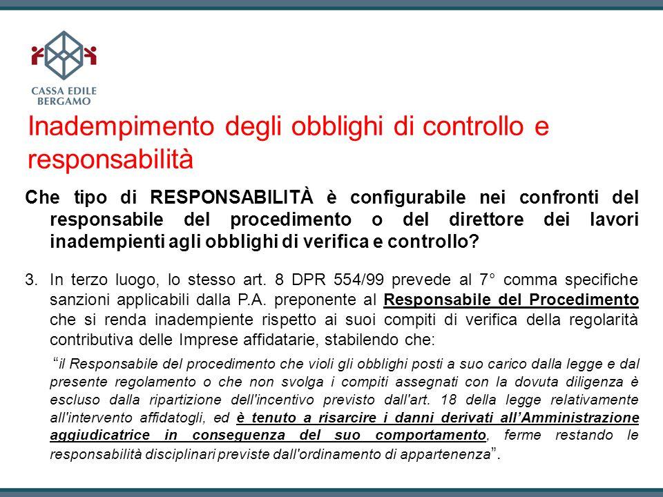 Inadempimento degli obblighi di controllo e responsabilità
