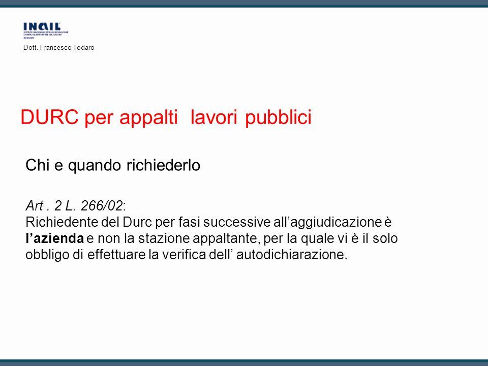 DURC per appalti lavori pubblici