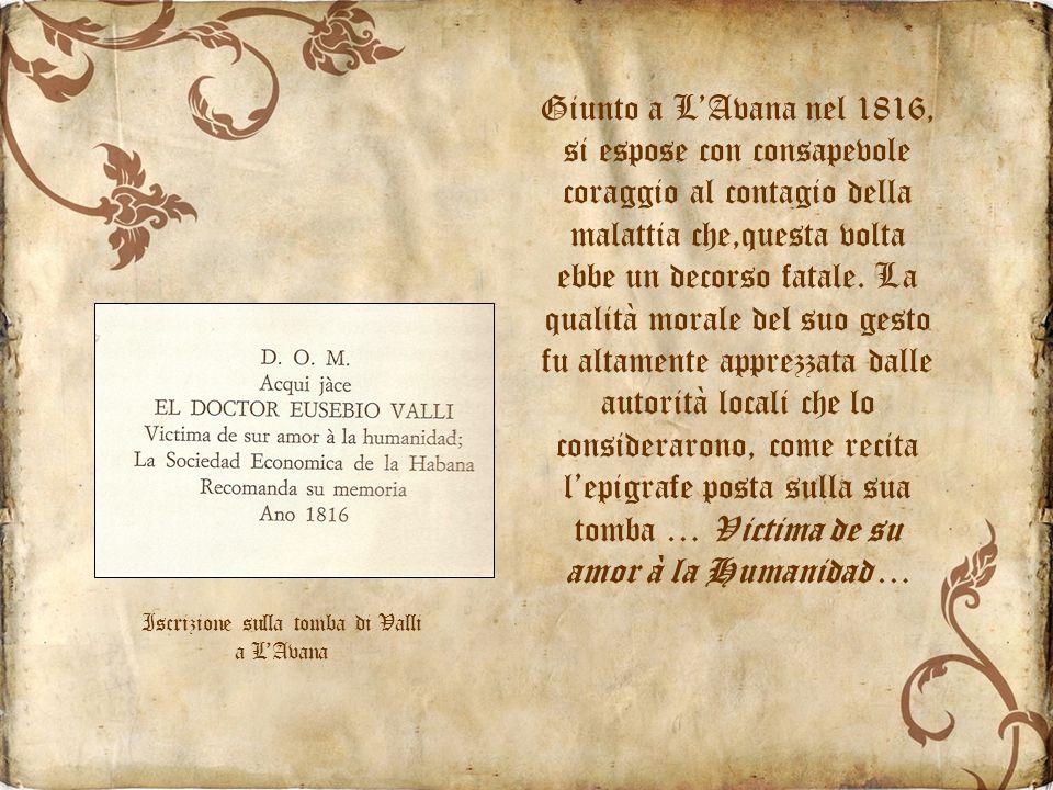 Iscrizione sulla tomba di Valli a L'Avana