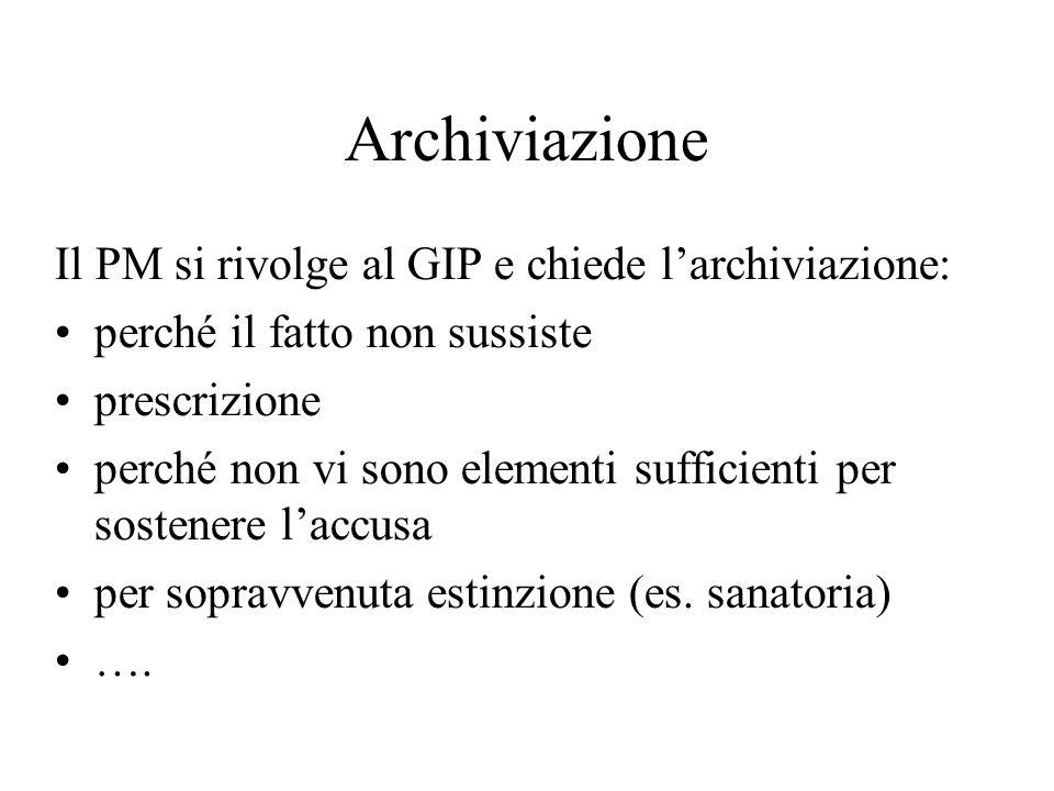 Archiviazione Il PM si rivolge al GIP e chiede l'archiviazione: