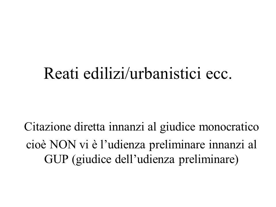 Reati edilizi/urbanistici ecc.