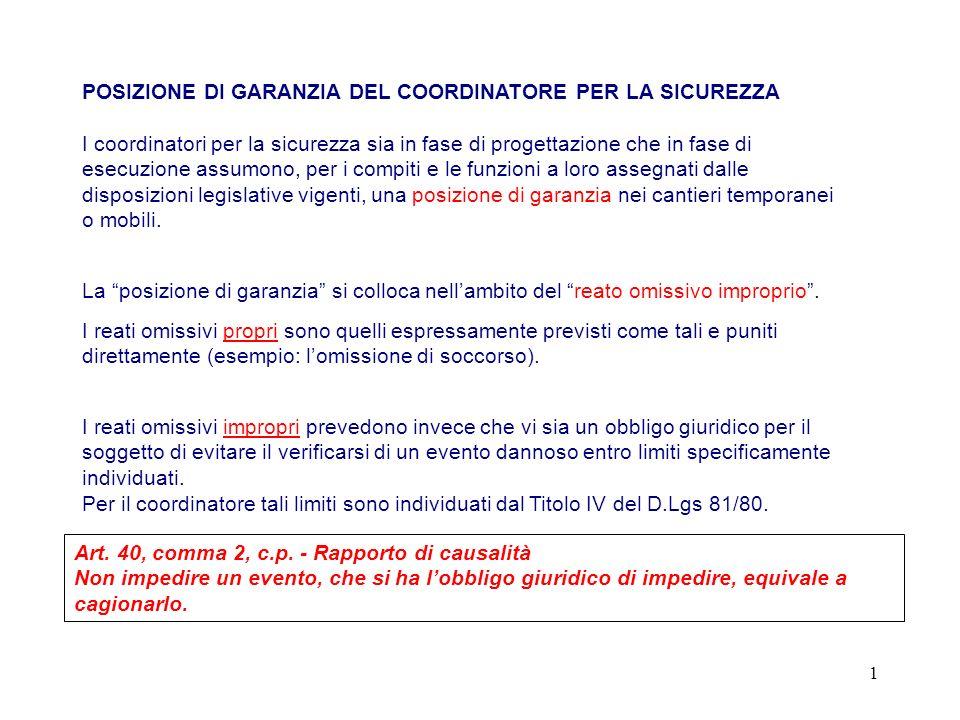 POSIZIONE DI GARANZIA DEL COORDINATORE PER LA SICUREZZA