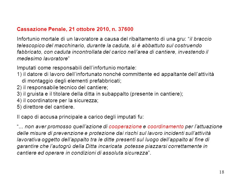 Cassazione Penale, 21 ottobre 2010, n. 37600