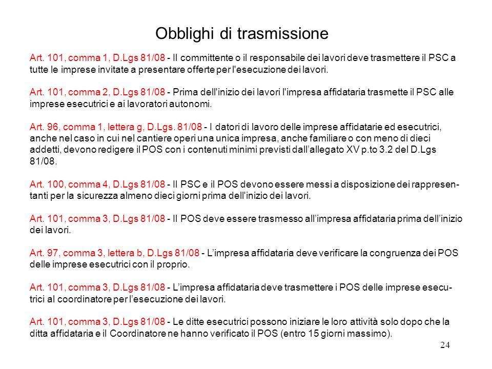 Obblighi di trasmissione