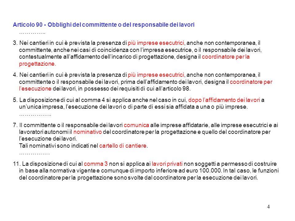 Articolo 90 - Obblighi del committente o del responsabile dei lavori …………..