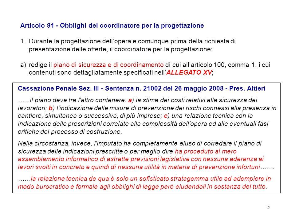 Articolo 91 - Obblighi del coordinatore per la progettazione