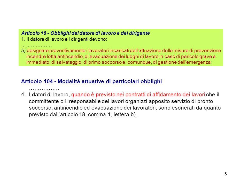 Articolo 104 - Modalità attuative di particolari obblighi ……………..