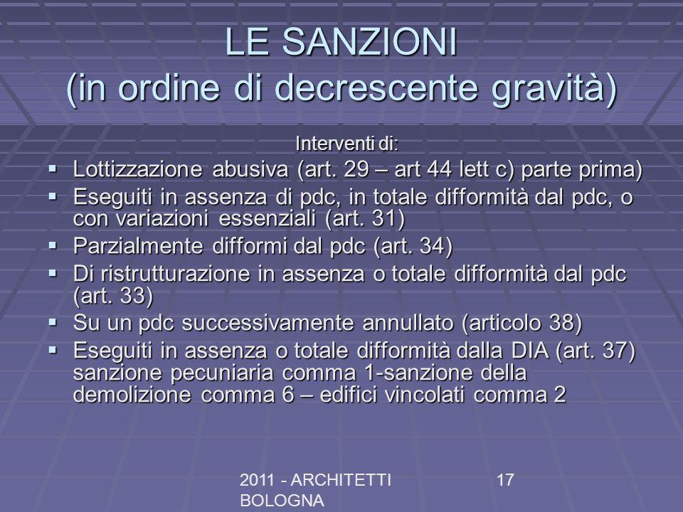 LE SANZIONI (in ordine di decrescente gravità)