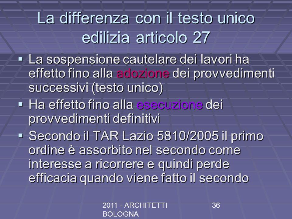 La differenza con il testo unico edilizia articolo 27