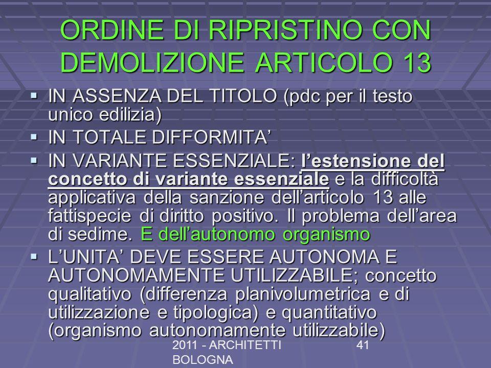 ORDINE DI RIPRISTINO CON DEMOLIZIONE ARTICOLO 13