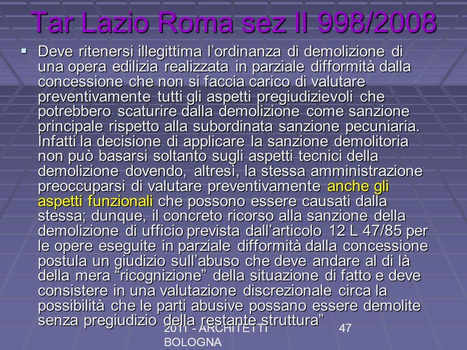 Tar Lazio Roma sez II 998/2008