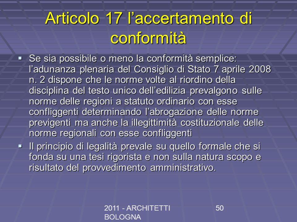 Articolo 17 l'accertamento di conformità