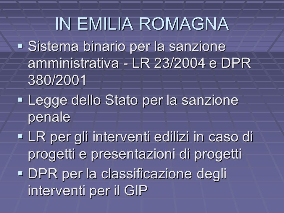 IN EMILIA ROMAGNA Sistema binario per la sanzione amministrativa - LR 23/2004 e DPR 380/2001. Legge dello Stato per la sanzione penale.