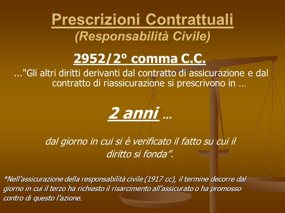 Prescrizioni Contrattuali (Responsabilità Civile)