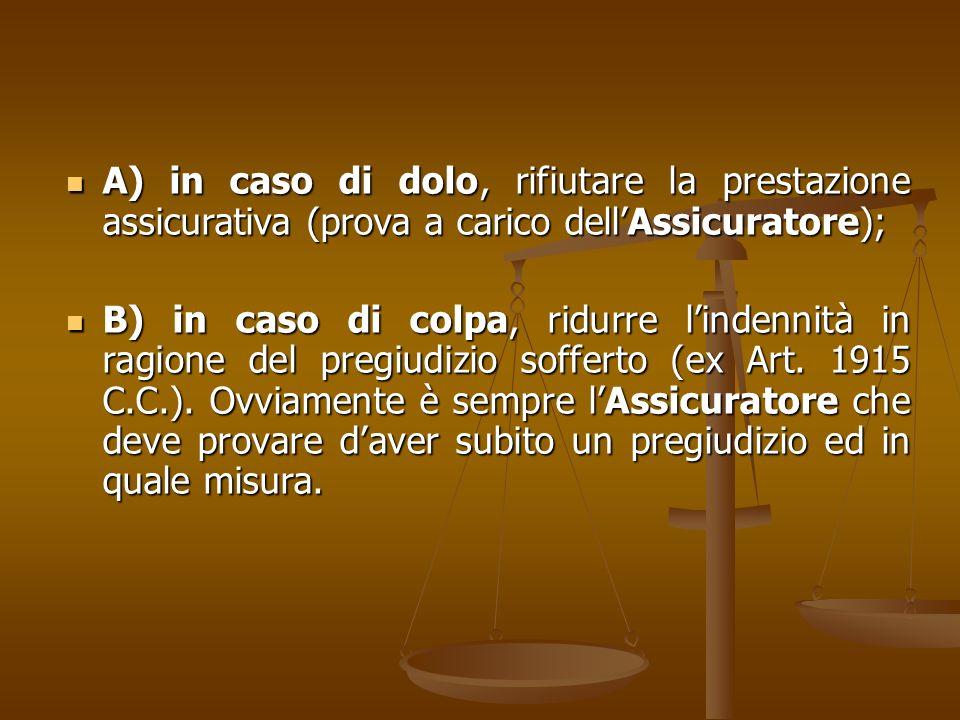 A) in caso di dolo, rifiutare la prestazione assicurativa (prova a carico dell'Assicuratore);