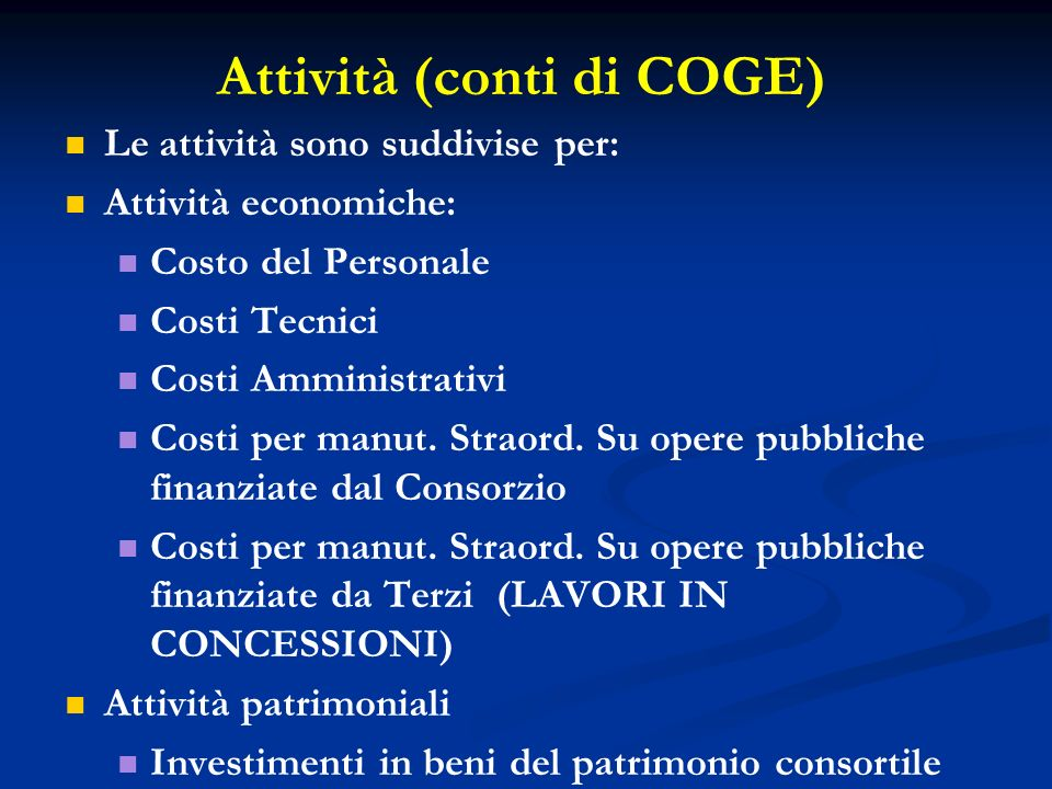 Attività (conti di COGE)