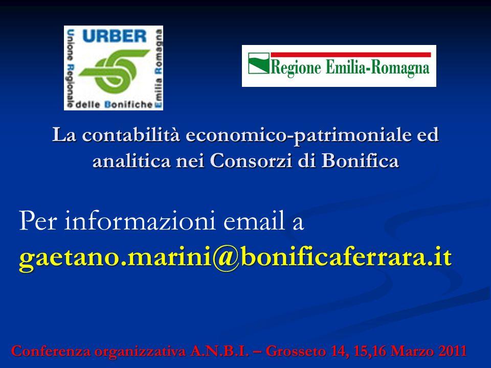 Per informazioni email a gaetano.marini@bonificaferrara.it