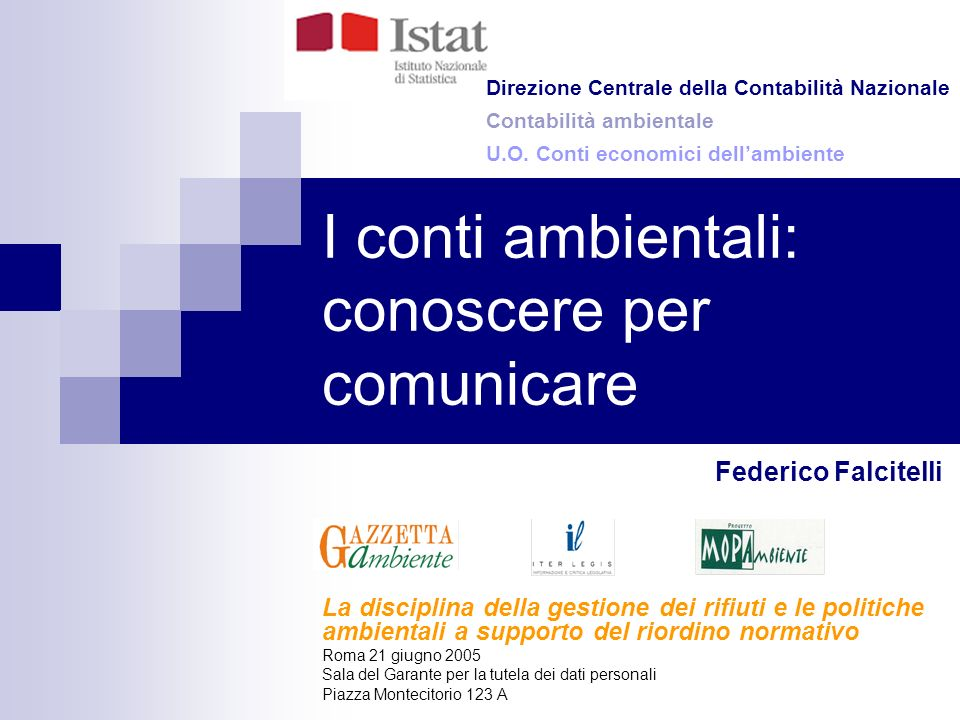 I conti ambientali: conoscere per comunicare