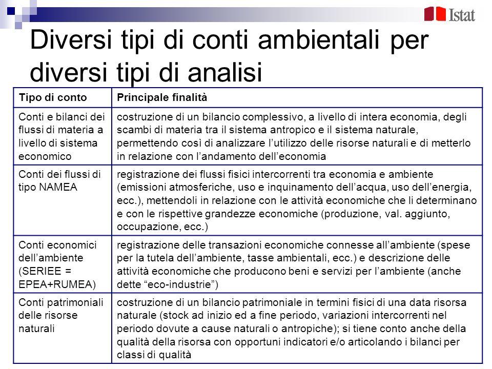 Diversi tipi di conti ambientali per diversi tipi di analisi