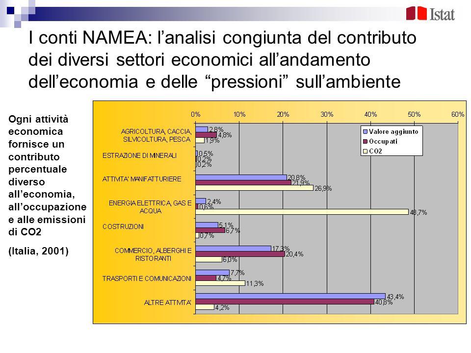 I conti NAMEA: l'analisi congiunta del contributo dei diversi settori economici all'andamento dell'economia e delle pressioni sull'ambiente