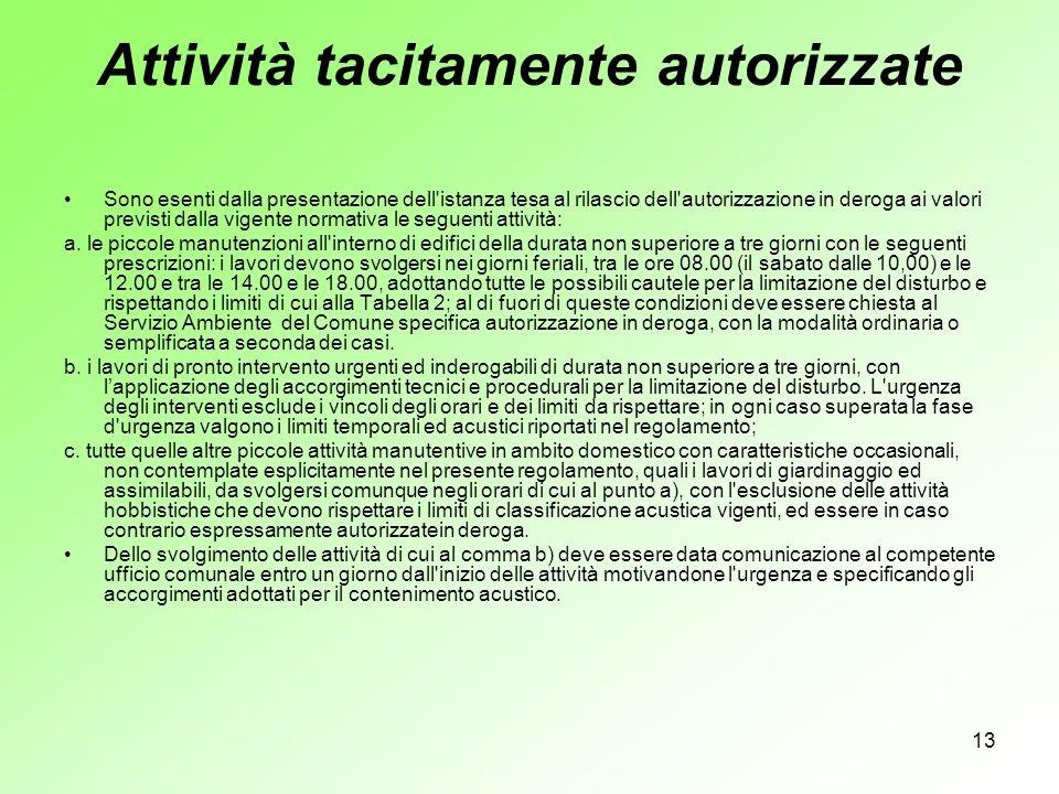 Attività tacitamente autorizzate