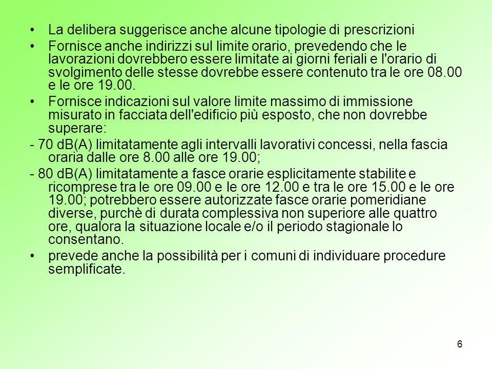 La delibera suggerisce anche alcune tipologie di prescrizioni