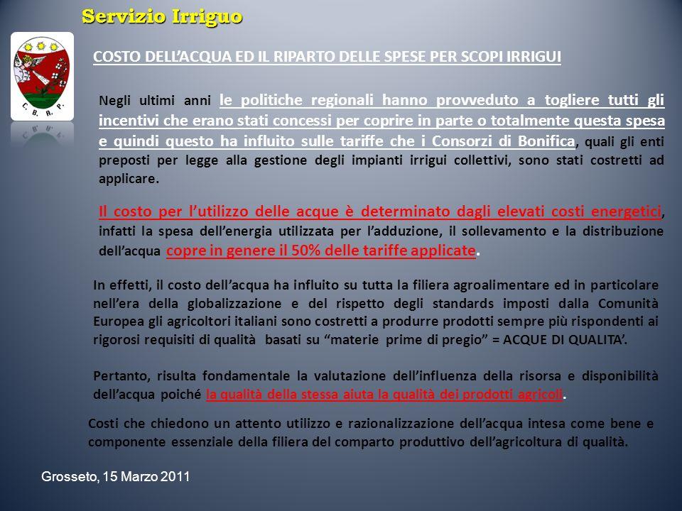 Servizio Irriguo COSTO DELL'ACQUA ED IL RIPARTO DELLE SPESE PER SCOPI IRRIGUI.