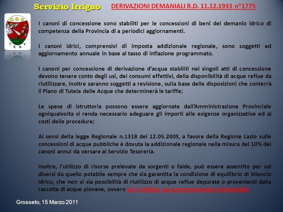 Servizio Irriguo DERIVAZIONI DEMANIALI R.D. 11.12.1933 n°1775