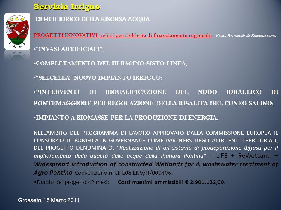 Servizio Irriguo DEFICIT IDRICO DELLA RISORSA ACQUA