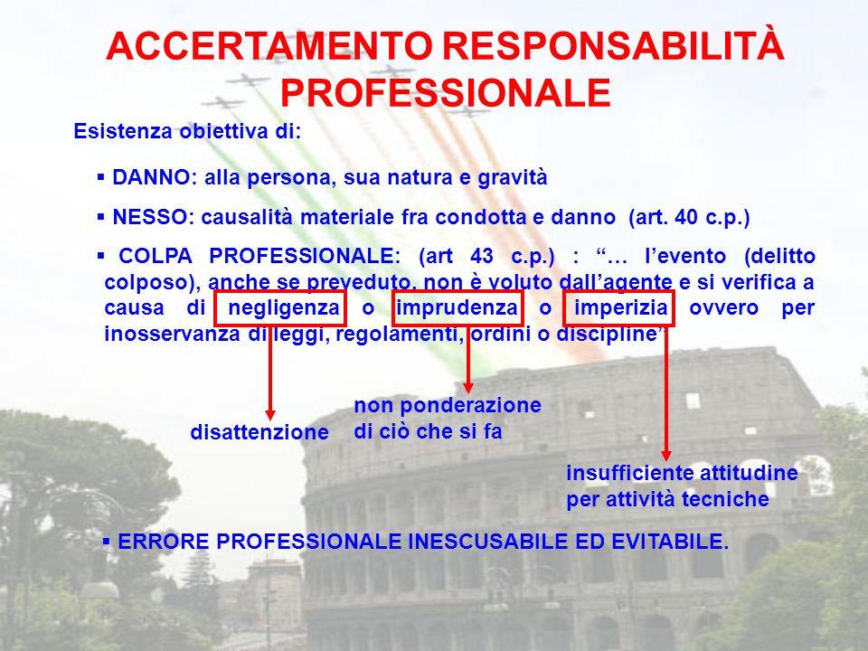 ACCERTAMENTO RESPONSABILITÀ PROFESSIONALE