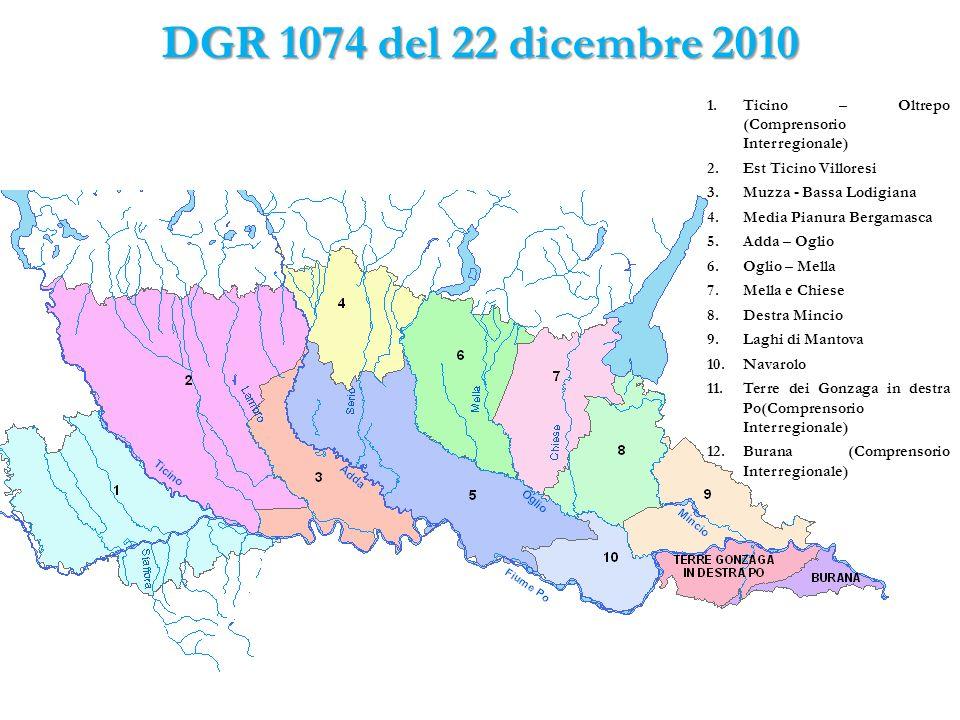 DGR 1074 del 22 dicembre 2010 Ticino – Oltrepo (Comprensorio Interregionale) Est Ticino Villoresi.
