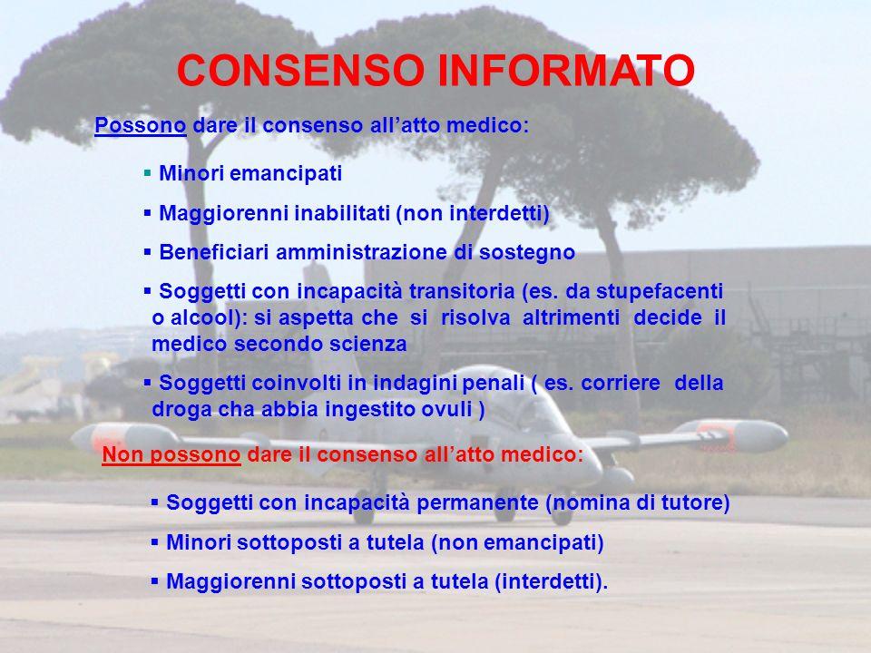 CONSENSO INFORMATO Possono dare il consenso all'atto medico: